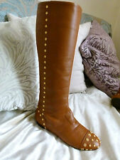 Alexander McQueen brown leather knee high boots EU size 35-36