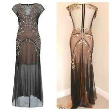 Stunning Miss Selfridge 20s Black Vintage Gatsby Embellished Maxi Dress Uk8