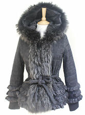 Roberto Cavalli black frill hooded racoon fur padded jacket IT 44 UK 12