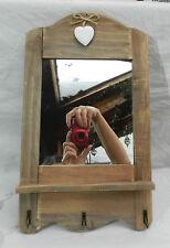 Espejo Enmarcado Madera Colgante De Pared Con Tres Ganchos-Shabby Chic-Nuevo Y En Caja