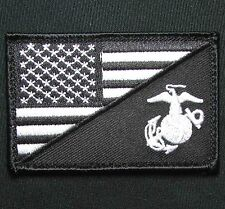 AMERICAN USA FLAG MARINE CORPS USMC BLACK OPS WHITE TACTICAL VELCRO MORALE PATCH