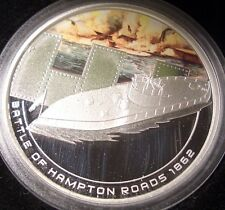 "2010 COOK ISLAND FAMOUS NAVAL BATTLES 'HAMPTON ROADS 1862"" 1oz. SILVER  COIN"