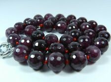 10mm Faceted Garnet Red Gemstone Round Beads Necklace 18""