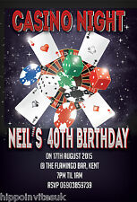 Personalised Casino Night Themed Birthday Party Invitations x 12 with Envs H0159