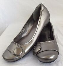 ECCO Silver Leather Ballet Flats Slip On Casual Dress Shoes Womens Size 9.5 40