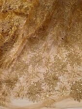 """GOLD METALLIC CORED EMBROIDERY SEQUINS BEIDAL LACE FABRIC 50"""" WiIDE 1 YARD"""