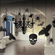 17 Piece Glitter Gothic Hanging Chandelier Halloween Party Decorating Kit