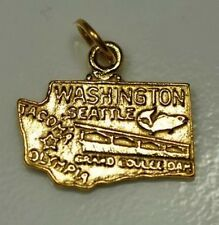 LOOK Washington Seattle State Map USA 24kt Gold plated charm