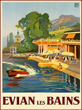 Evian Les Bains South France Vintage French Travel Advertisement Poster Print