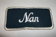 NAN USED EMBROIDERED  SEW ON NAME PATCH TAGS  WHITE ON DARK BLUE