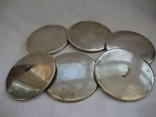 A SET OF SIX VINTAGE SILVER PLATED ENGRAVED WINE GLASS TABLE COASTERS  13 cm.