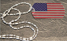 USA Flag Dog Tag Necklace with silver sausage style chain, mixed metals