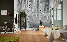 NON WOVEN giant wallpaper 368x248cm Woods - forest design wall mural decor black