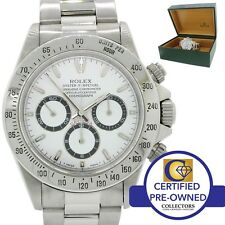 Rolex Daytona Zenith 16520 Steel Cosmograph White Dial 40mm T Chrono Watch w Box