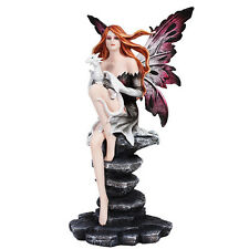 Gothic Fairy Holding Dragon w Black Rocks Figurine Statue Faery Collection