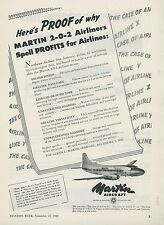 1948 Martin Aircraft Ad 2-0-2 Airliner More Profitable for Airlines Aviation