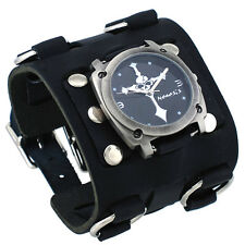 Nemesis WBK927K Men's Skull Crucifixion Black Super Wide Leather Cuff Watch