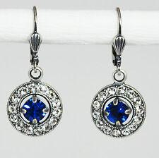 Ohrringe Ohrhänger Silber Swarovski Kristall Pavé Vintage retro Capri Blue blau