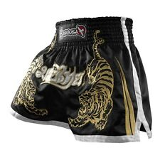 New Hayabusa Muay Thai Kickboxing MMA Fight Shorts -Black - X-Large XL 36""