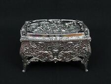 Vintage Ornate Metal Trinket Jewelry Box Raised Colonial Scene Beautiful