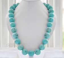 "18"" Fashion Women's 14mm Genuine Natural Blue Turquoise Gemstone Beads Necklace"
