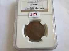 1862 Straits Cent NGC XF 45 Brown