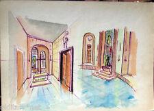 Acquerello '900 su carta Watercolor Architettura futurista cubista razionale-124
