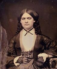 Amazing daguerreotype!!  Extremely well dressed young woman! Fancy Dress-Hair!!