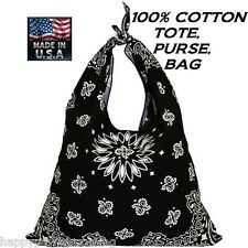 *USA MADE Cotton BLACK PAISLEY BANDANA Tote Beach Shopping BAG PURSE POCKETBOOK