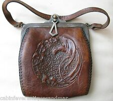 Antique Art Nouveau Deco Bird Of Paradise Hand Tooled Leather Purse JEMCO 1921