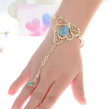 Chic Women Turquoise Hollow Out Alloy Chain Finger Ring Bangle Bracelet Jewelry
