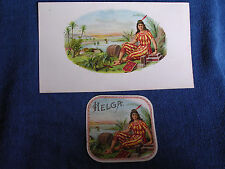 """Helga"" Chromolitho Inner & Outer Cigar Labels/Sexy Brunette-Tropical Scene"