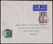 1936 NIGERIA LAGOS air mail Sutton Coldfield con 1/2d FOTOINCISIONE aggiunto