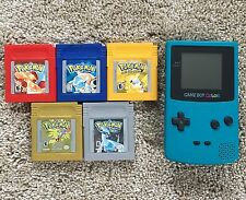 Pokemon Blue, Red, Yellow, Gold, & Silver w Teal Gameboy Color All Tested & Save