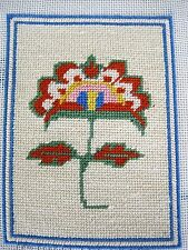 Small Finished Needlepoint Picture Unframed Stylized Flower Rayon Yarn