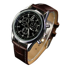 B3 YAZOLE Men's Date Leather StainleB3 Steel Military Sport Quartz Wrist Watch
