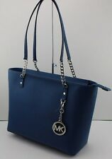 NEW AUTHENTIC MICHAEL KORS STEEL BLUE JET SET CHAIN ITEM LEATHER HANDBAG EW TOTE