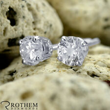 Sale Real Natural 0.60 ct Round Diamond Stud Earrings White Gold Pierced Ears