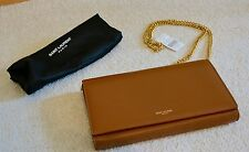 NWT YSL Saint Laurent Camel Smooth Leather Wallet On Chain Cross Body Bag $1495