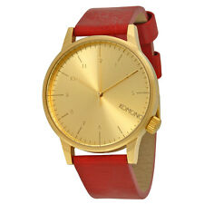 "Komono Winston Gold Dial ""Regal Red"" Leather Mens Watch W2250"