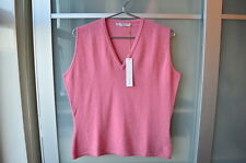JOHNSTONS CASHMERE pink deep v slipover tank top ~ NWT ~ UK 16 ~ 42""