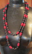 "20s vtg art deco 60"" LONG FLAPPER CHERRY RED CELLULOID BEAD NECKLACE knotted"