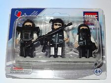 Police Swat Team Set of 3 Mini Figures People Construction Building Block Toy