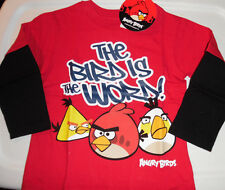 Angry Birds 100% Cotton Long Sleeve T Tee Shirt Toddler Boys 2T Red N Blue Black