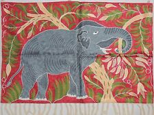 "Elephant Wall Decoration Rug Carpet Tapestry Maroon Crewel Embroidery 36""x24"""