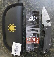 NEW Spyderco C41CF40TH 40th Anniversary Native 5 Knife w Carbon Fiber & Damascus