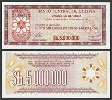 Bolivia 5 Million PESOS Bolivianos D.1985 P 193 UNC OFFER !