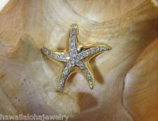 SPECIAL ORDER 14K YELLOW GOLD OVER 925 SILVER HAWAIIAN STARFISH CZ SLIDE PENDANT