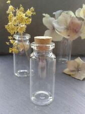 10x Glass Vial Bottles with cork crafts jewellery mini bottle small vase 22x50mm