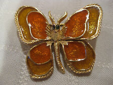 MW: VINTAGE WOMEN'S FLORENZA GOLD ENAMELED BUTTERFLY PIN BROOCHE - HALLMARKED